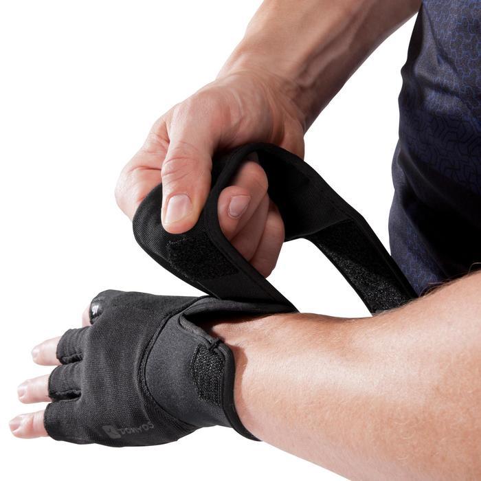 Gant musculation poignée noir gris serrage double velcro - 1256810
