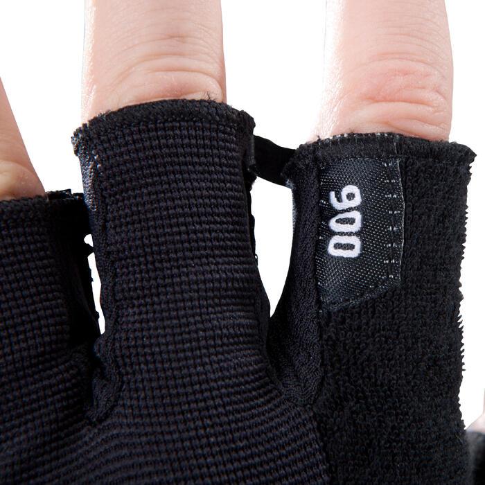 Gant musculation poignée noir gris serrage double velcro - 1256811