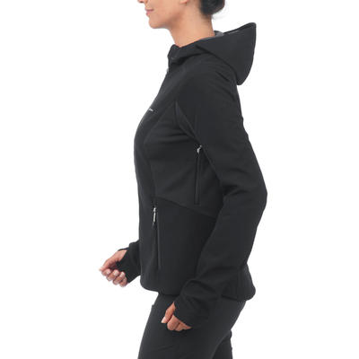 Women's mountain trekking softshell TREK 500 WINDWARM - black