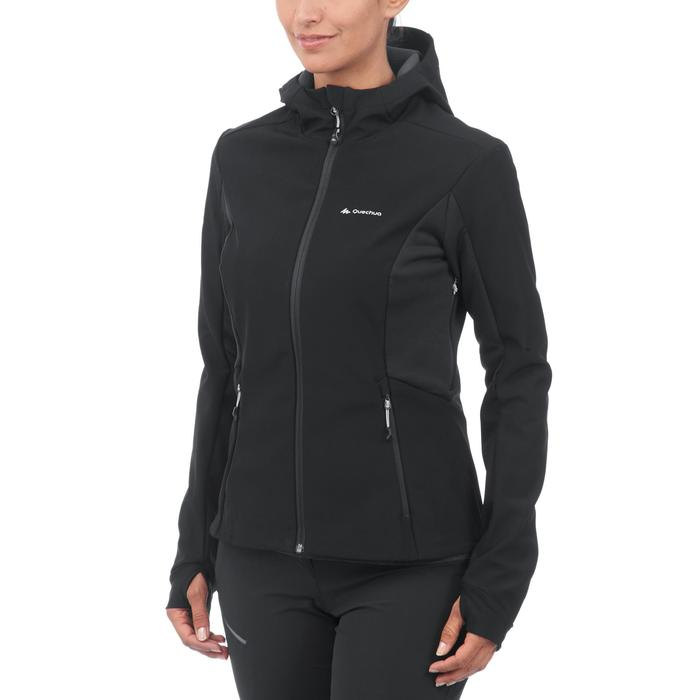 Softshelljacke Trek 500 WindWarm Damen schwarz