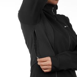 Warme winddichte softshelljas voor bergtrekking dames Trek 500 Windwarm zwart