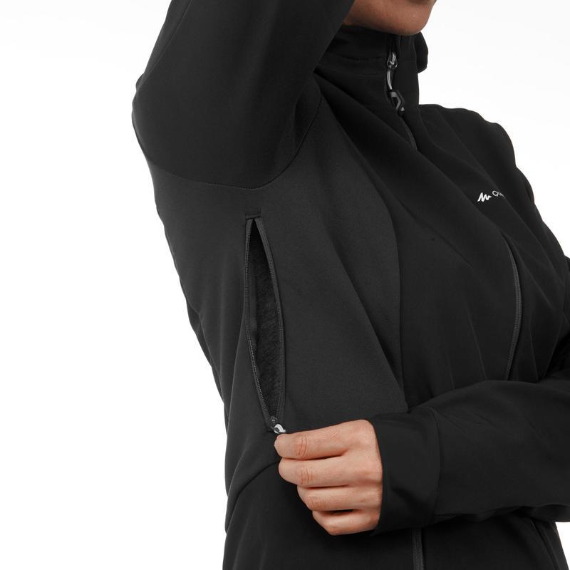 Women's mountain trekking softshell TREK 500 WINDWARM - black