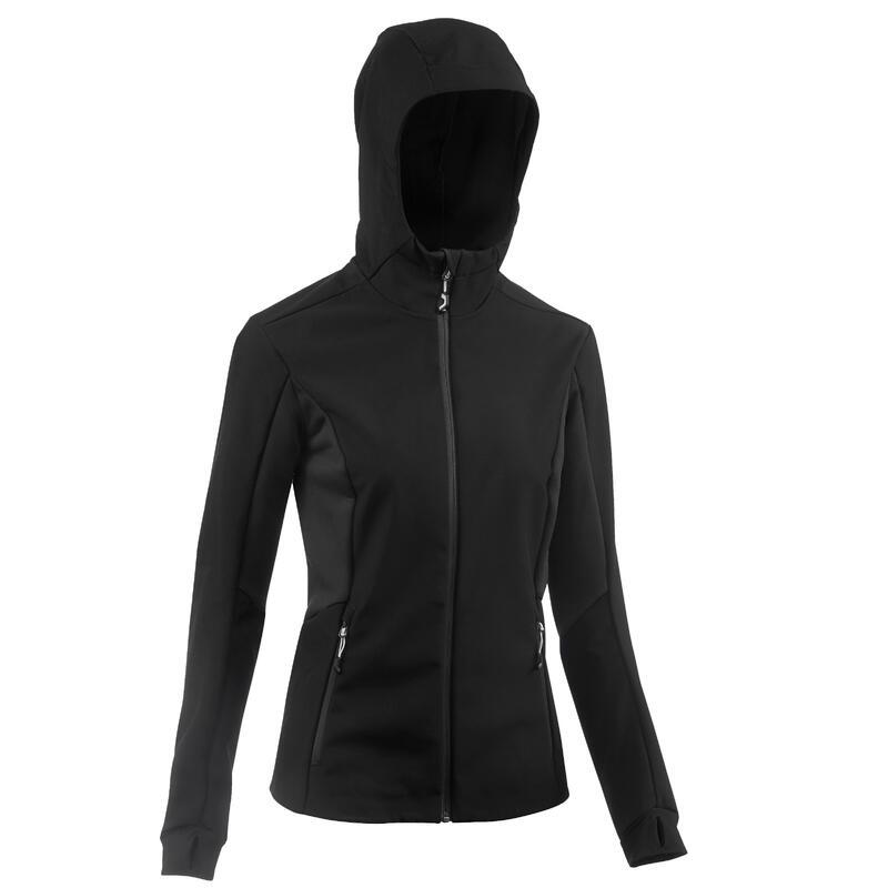 Warme winddichte softshell jas voor bergtrekking dames Trek 500 Windwarm zwart