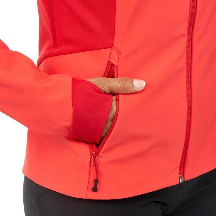 Dames softshell jas voor bergtrekking Trek 900 Windwarm rood