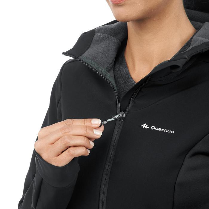 Dames softshell jas voor bergtrekking Trek 900 Windwarm zwart