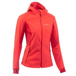 Chaqueta softshell trekking montaña TREK 900 WINDWARM mujer rojo