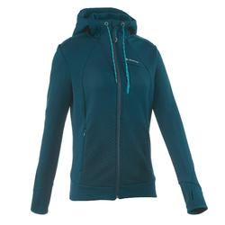 Forclaz 400 女性山區健行運動伸縮磨毛夾克 - 土耳其藍印花