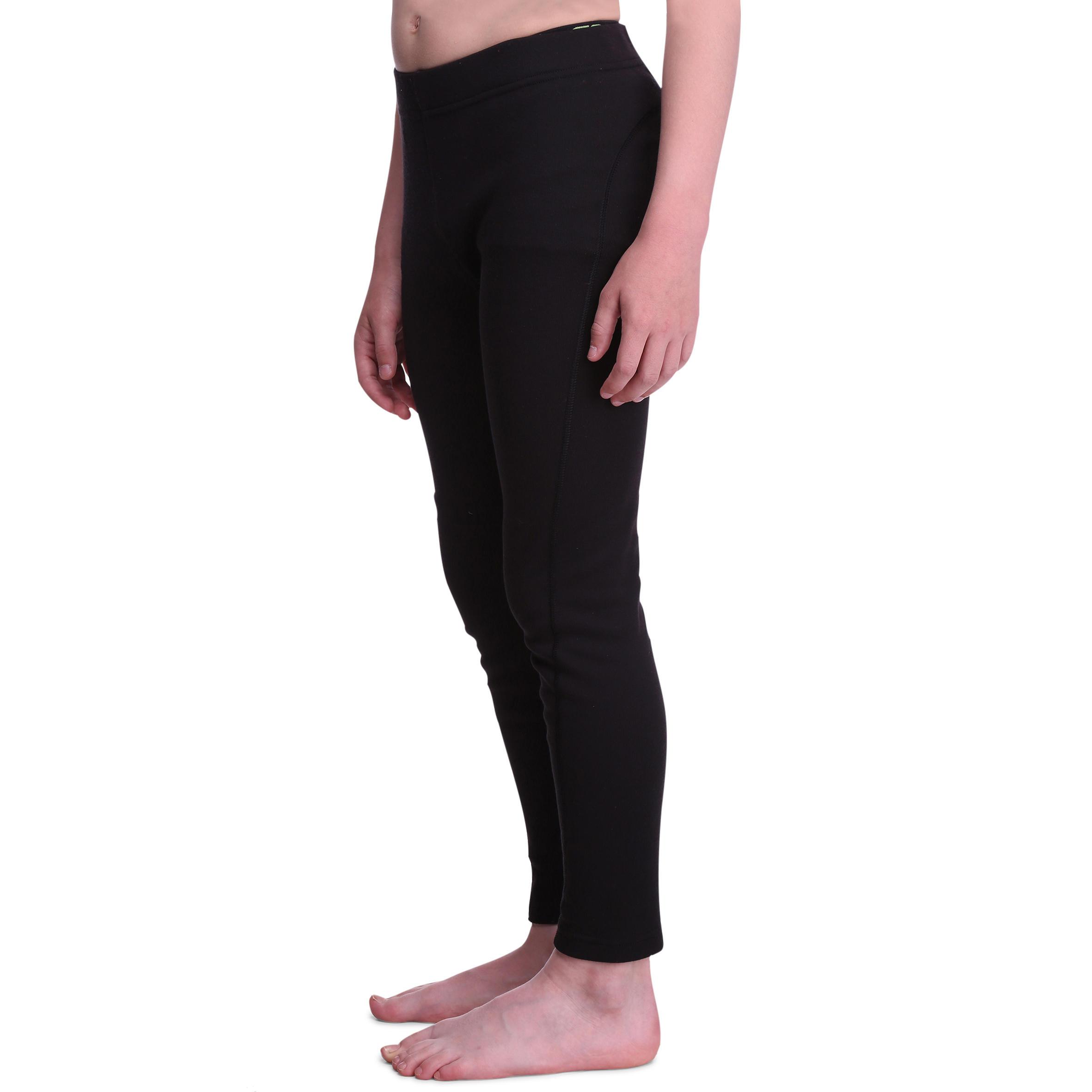 กางเกงตัวในเด็กสำหรับใส่เล่นสกีเด็กรุ่น 100 (สีดำ)