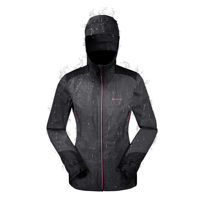 Veste de pluie imperméable de randonnée montagne MH900 Femme Noir