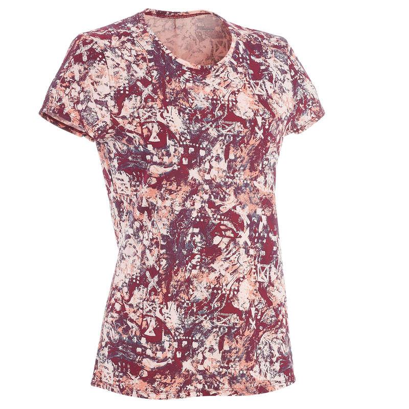 WOMEN NATURE HIKING SHORTS/TANK TOPS - Women's NH500 T-shirt - Bgndy QUECHUA