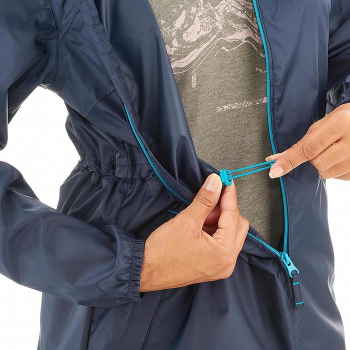 Damesregenjas natuurwandelingen Raincut rits marineblauw