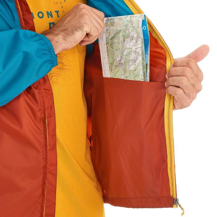 Coupe pluie Imperméable randonnée nature homme Raincut zip orange et bleu clair