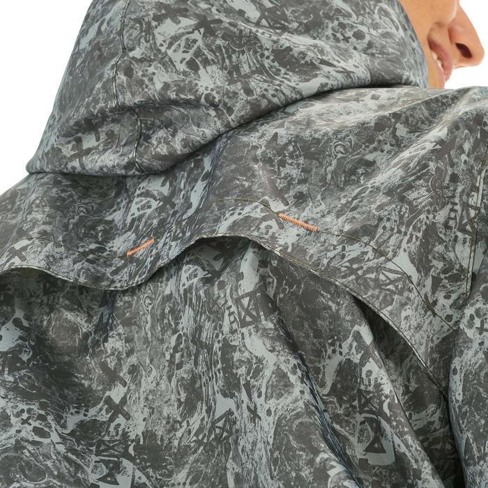Impermeable senderismo naturaleza mujer Raincut cremallera verde gris
