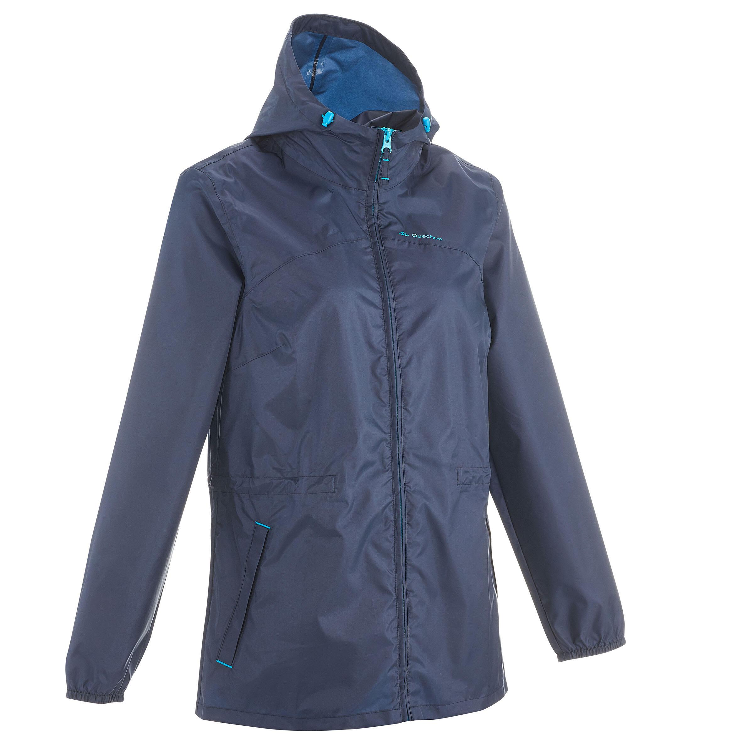 Regenjacke Raincut NH100 wasserdicht Reißverschluss Damen marineblau | Sportbekleidung > Sportjacken > Regenjacken | Blau | Quechua
