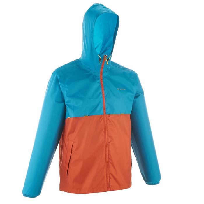 Impermeable senderismo en naturaleza hombre Raincut cremallera naranja y azul cl