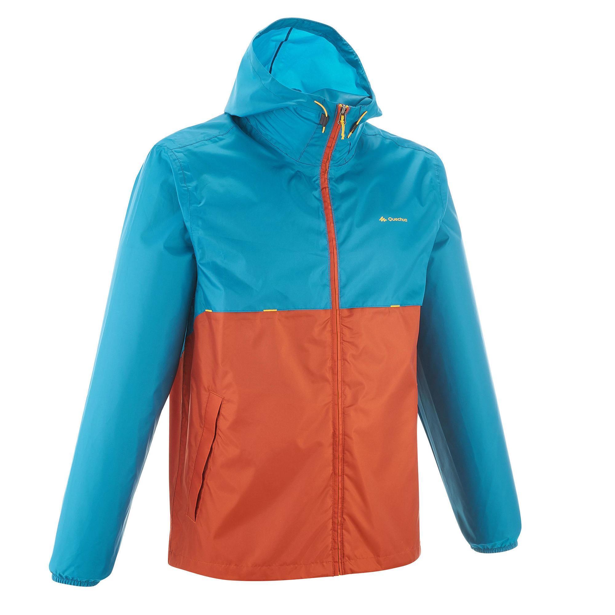Quechua Waterdicht regenjack natuurwandelingen heren Raincut rits oranje en lichtblauw