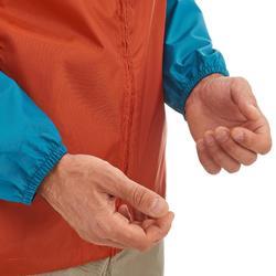 Regenjas voor wandelen en hiken NH100 Raincut rits oranje heren