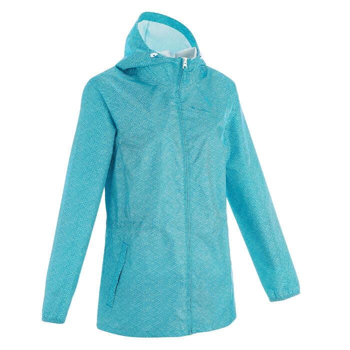 Impermeable senderismo naturaleza mujer Raincut cremallera azul claro