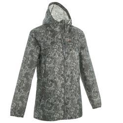 Dames regenjas voor wandelen in de natuur Raincut rits groen grijs