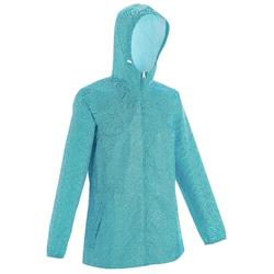 Regenjas voor wandelen in de natuur NH100 Raincut zip lichtblauw dames