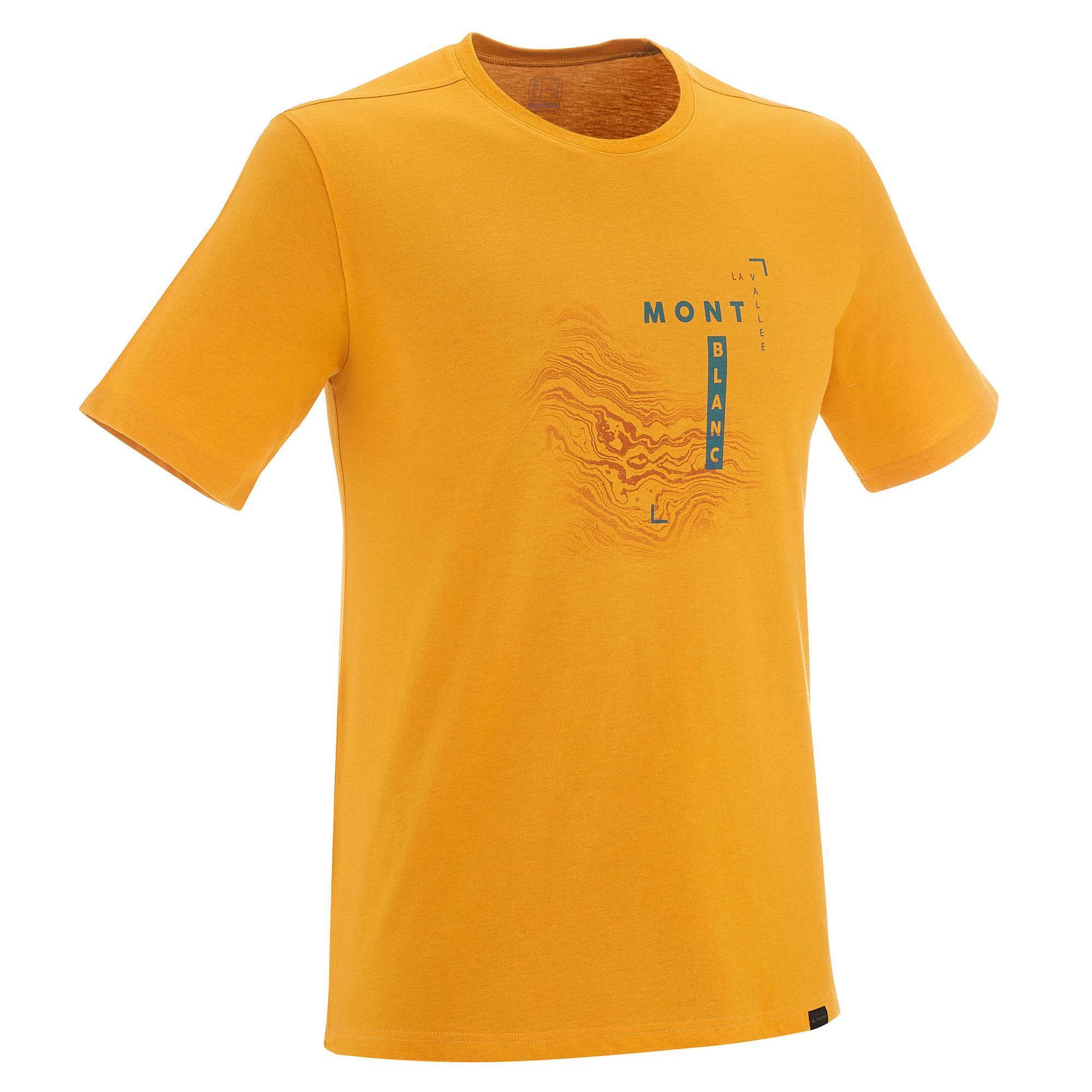 Quechua Heren T-shirt voor natuurwandelen NH500 geel
