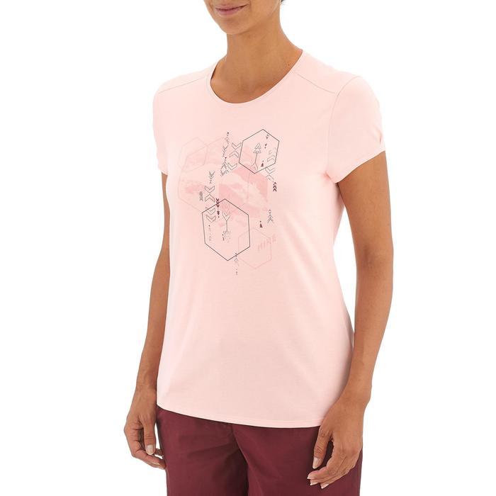 Camiseta senderismo naturaleza mujer NH500 rosa