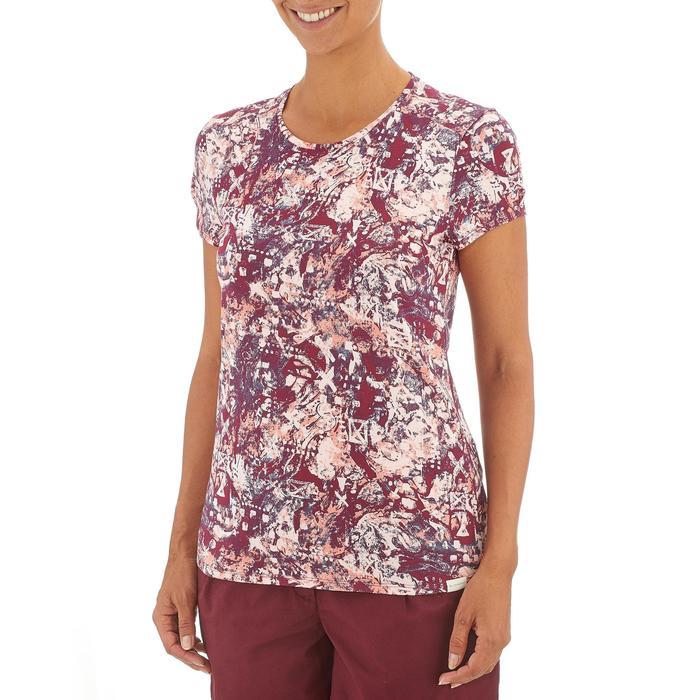 Camiseta senderismo en la naturaleza mujer NH500 burdeos