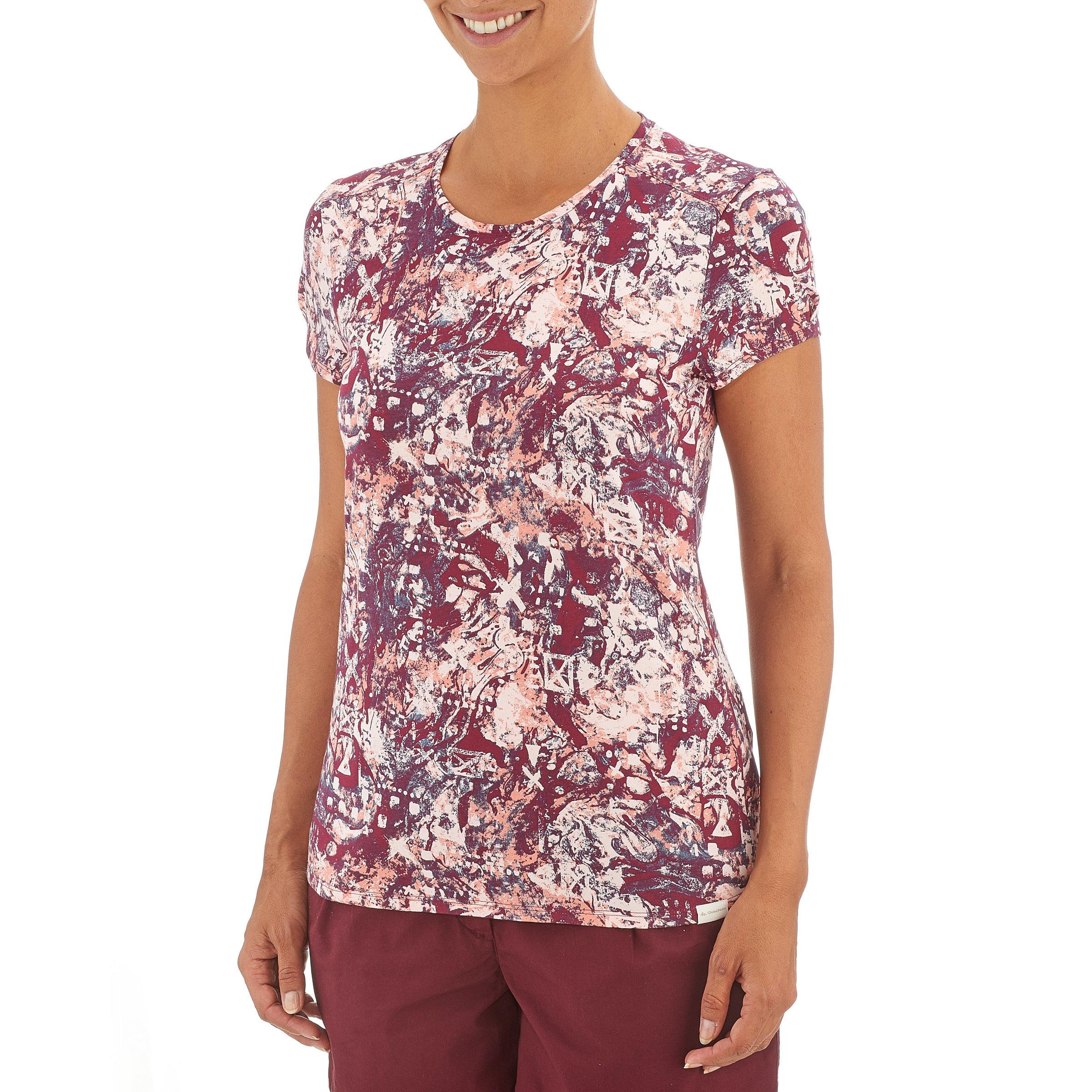 Women's NH500 country walking t-shirt - Burgundy