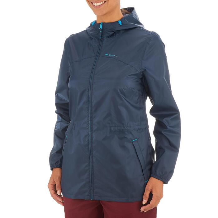 Regenjas voor natuurwandelen en hiken NH100 Raincut rits marineblauw dames