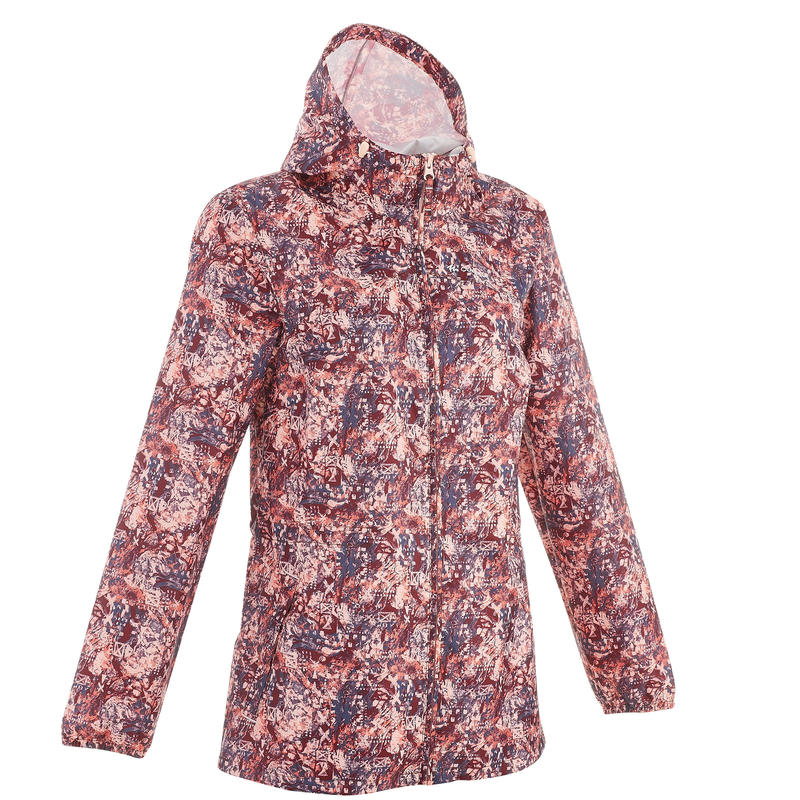 Women's Raincoat NH100 (Full Zip) - Burgundy