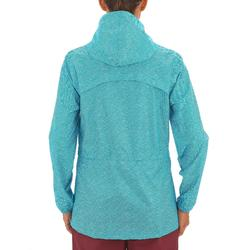 Regenjas voor wandelen en hiken dames NH100 Raincut rits lichtblauw
