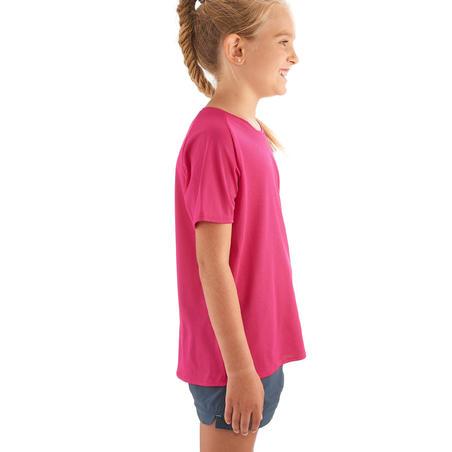 Camiseta de senderismo júnior MH550 rosa