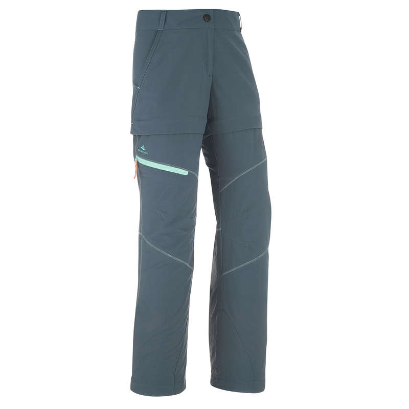 PANTS SHORTS, T SHIRT GIRL 7-15 Y Hiking - MH550 Modulpant - Dark Grey QUECHUA - Hiking Clothes
