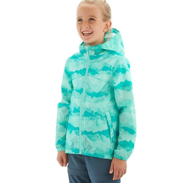 Veste imperméable de randonnée enfant Hike 150 gris imprimé tribal - 1258252