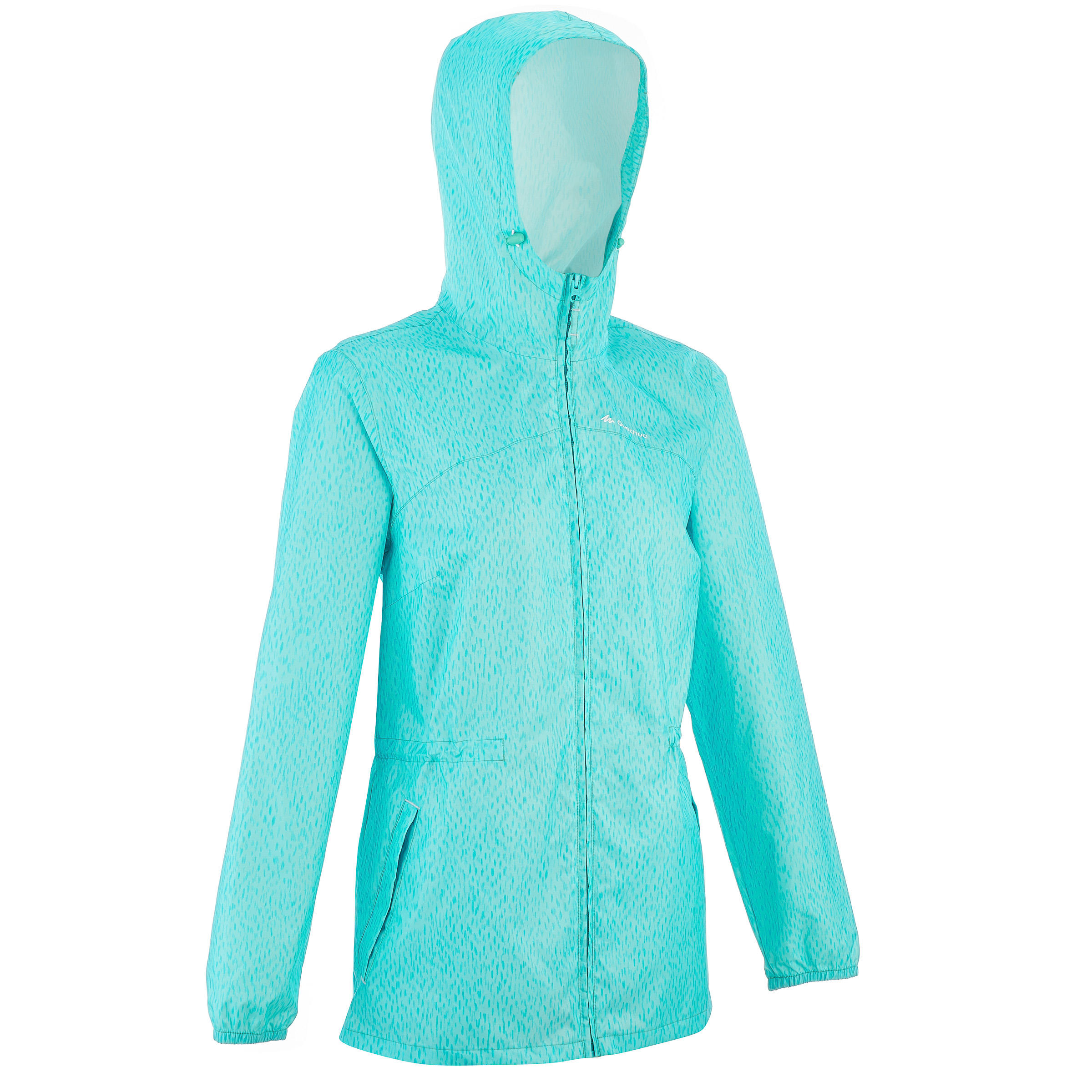 Women's Raincoat Full Zip waterproof nature hiking rain jacket – Blue