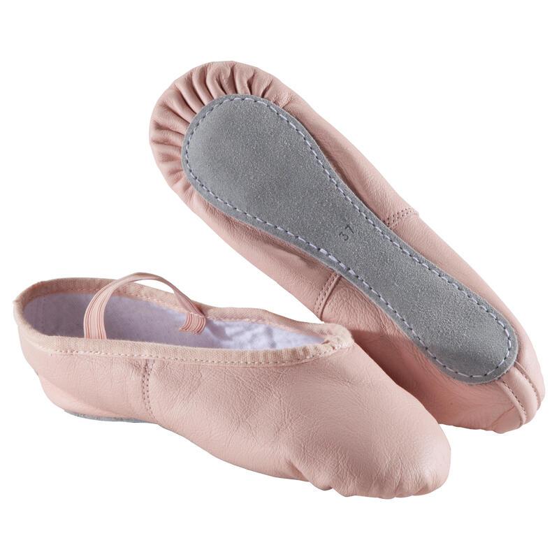Zapatillas de ballet de cuero rosadas