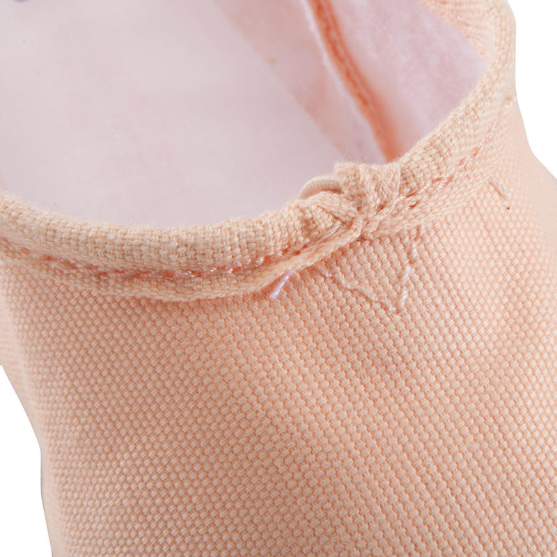 Zapatillas de ballet de tela con doble suela salmón