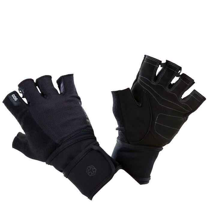 Gant musculation poignée noir gris serrage double velcro - 1258590