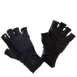 Trainingshandschoen met bandje met klittenband aan de pols zwart grijs