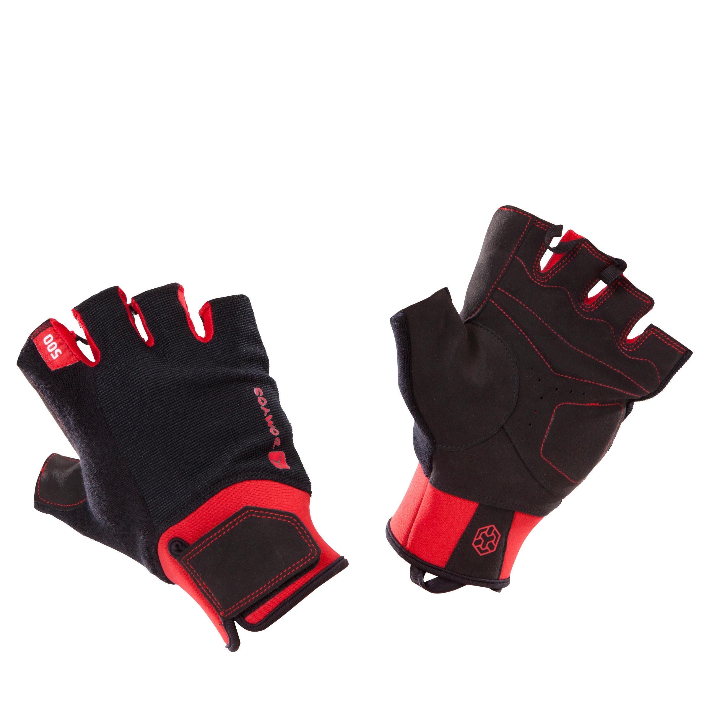 Domyos Handschoen krachttraining 500 zwart/rood met klittenbandsluiting aan de pols