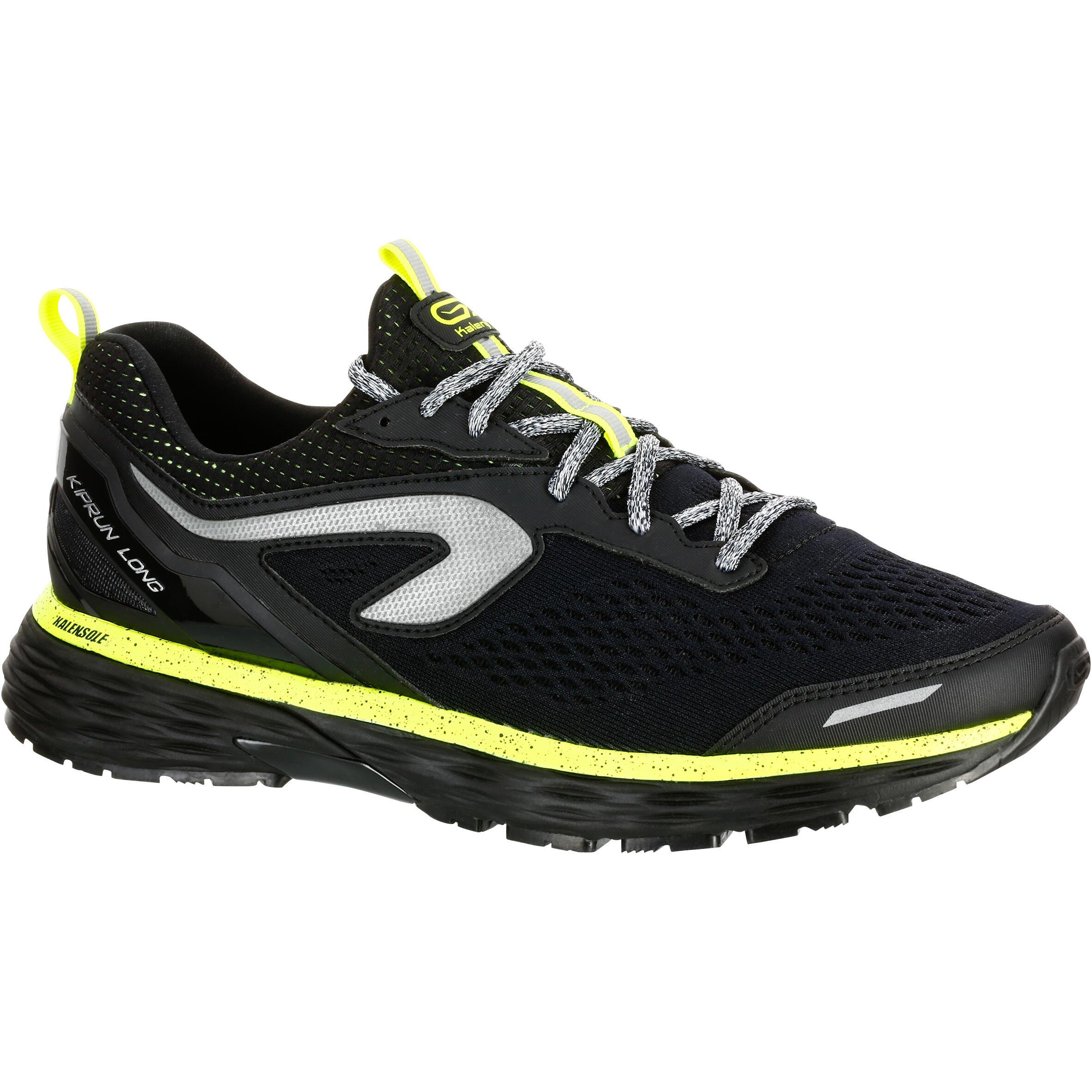 Kalenji Waterafstotende hardloopschoenen voor heren Kiprun Long zwart geel