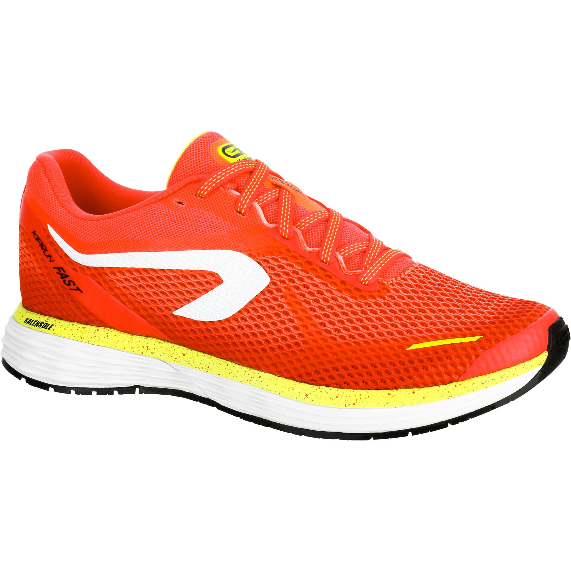 2501878 Kalenji Hardloopschoenen voor dames Kalenji Kiprun Fast koraalrood geel