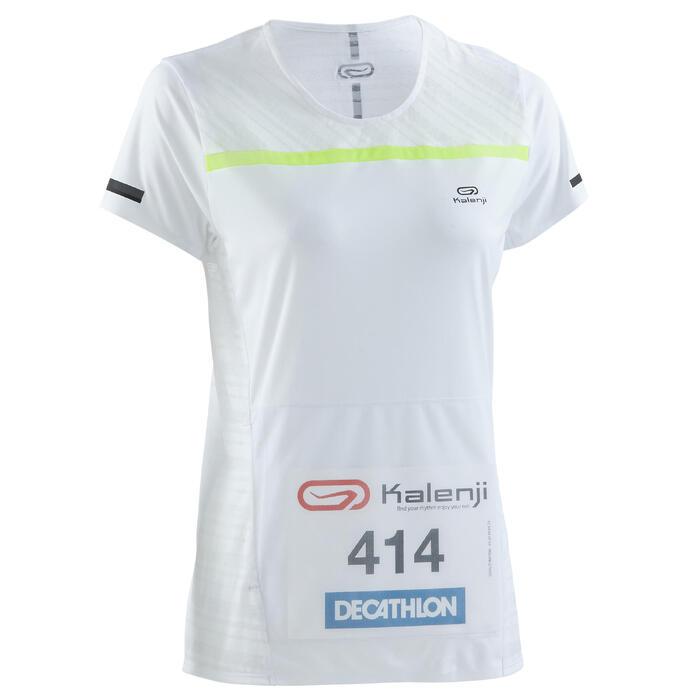 Hardloopshirt met rugnummerhouder voor dames Kiprun wit
