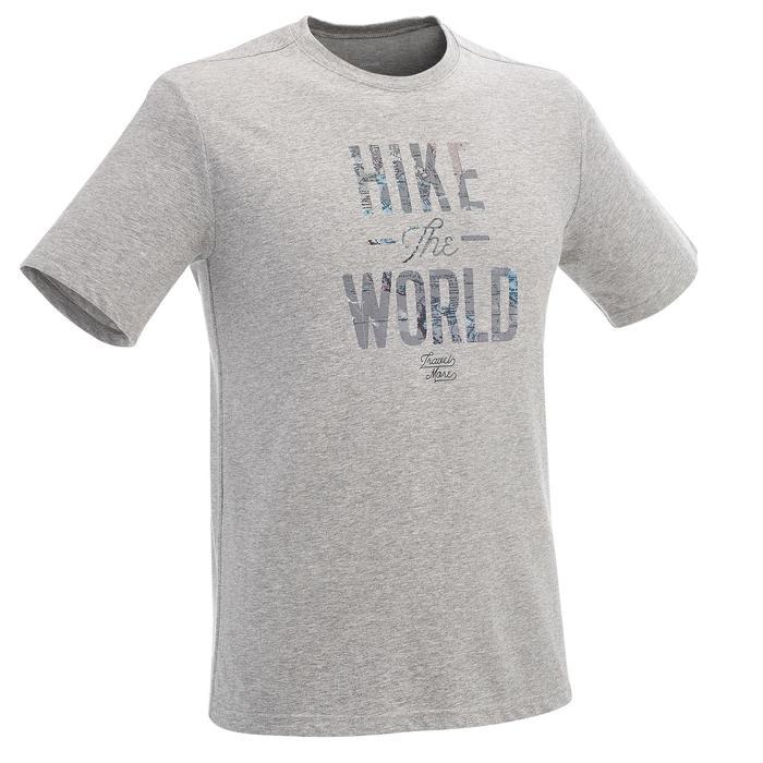 T-shirt wandelingen NH500 gemêleerd grijs heren
