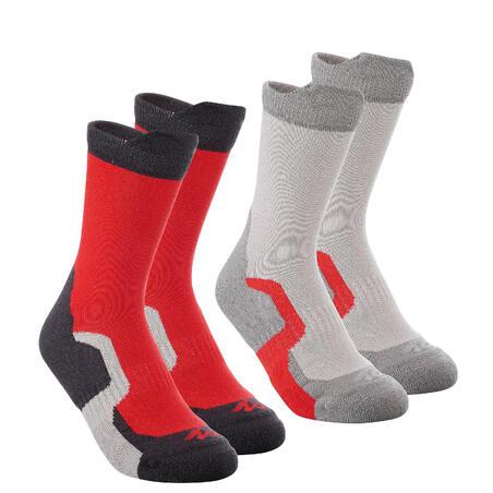Deux paires de chaussettes de rando montagne tige haute enfant crossocks rouge
