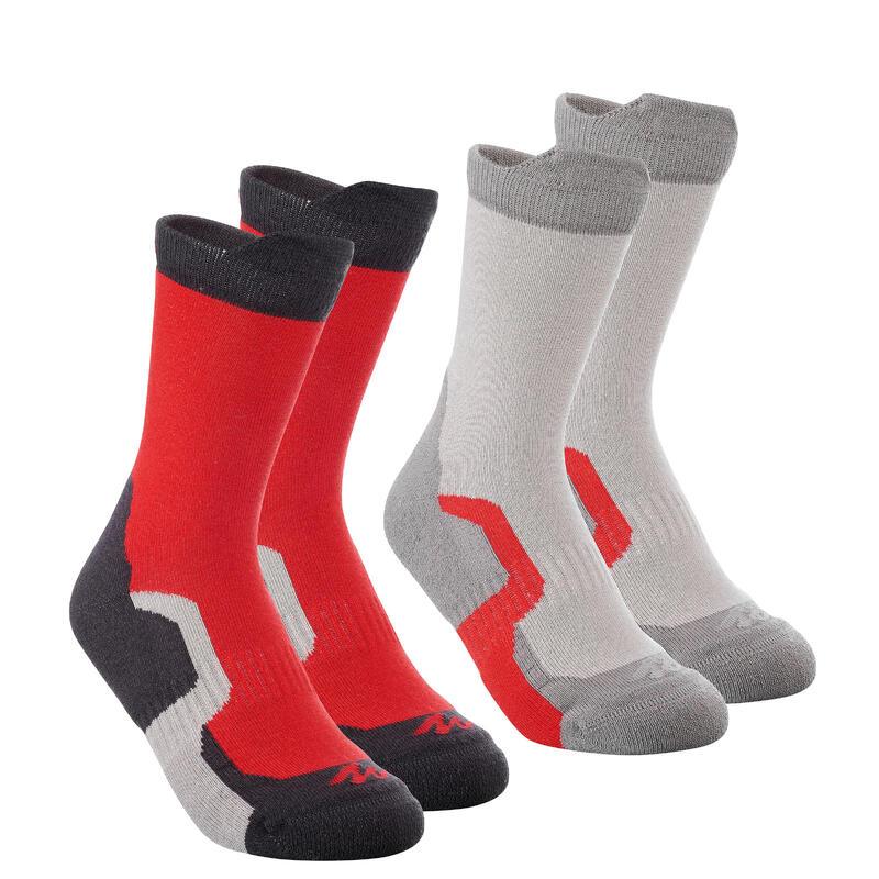 2 paires de chaussettes de randonnée tiges hautes enfant Crossocks rouges