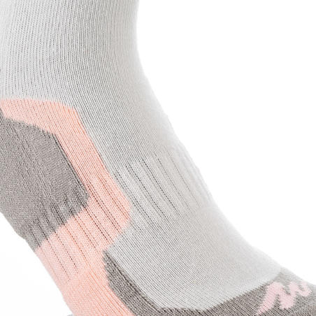 2 pares de calcetines de senderismo en montaña largos niños Crossocks Morado