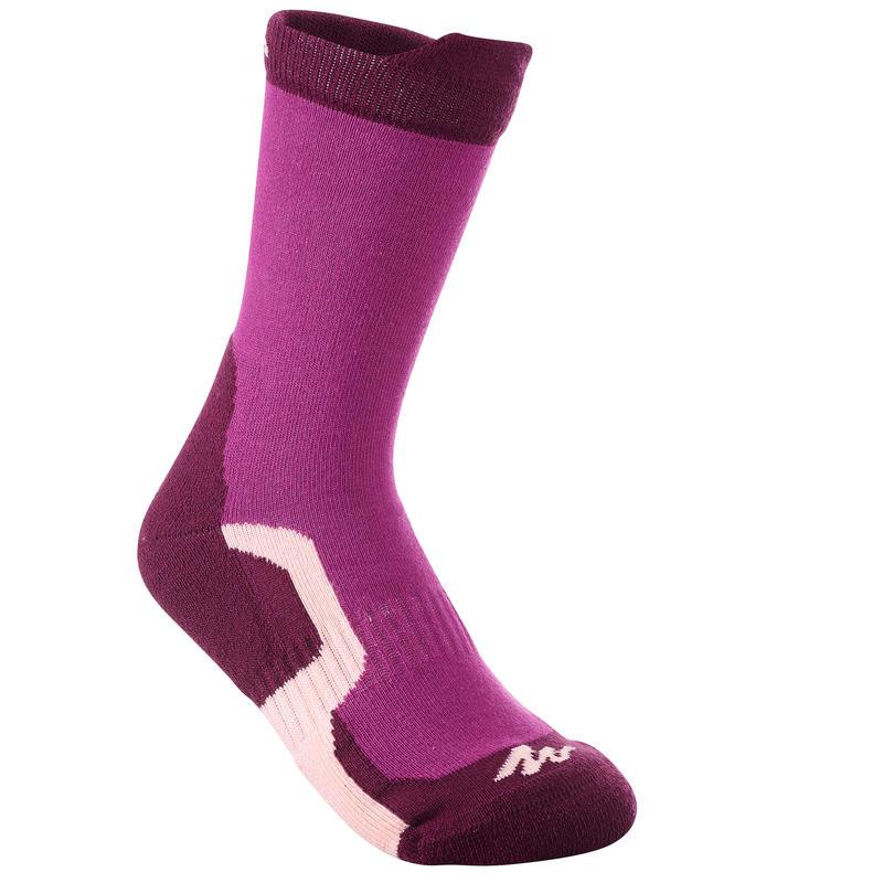 2 pares de calcetines de senderismo en montaña largos niños Crossocks Violeta