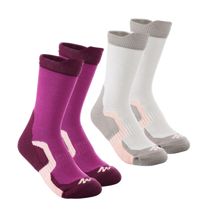 2 paires de chaussettes de randonnée tiges hautes enfant Crossocks violettes
