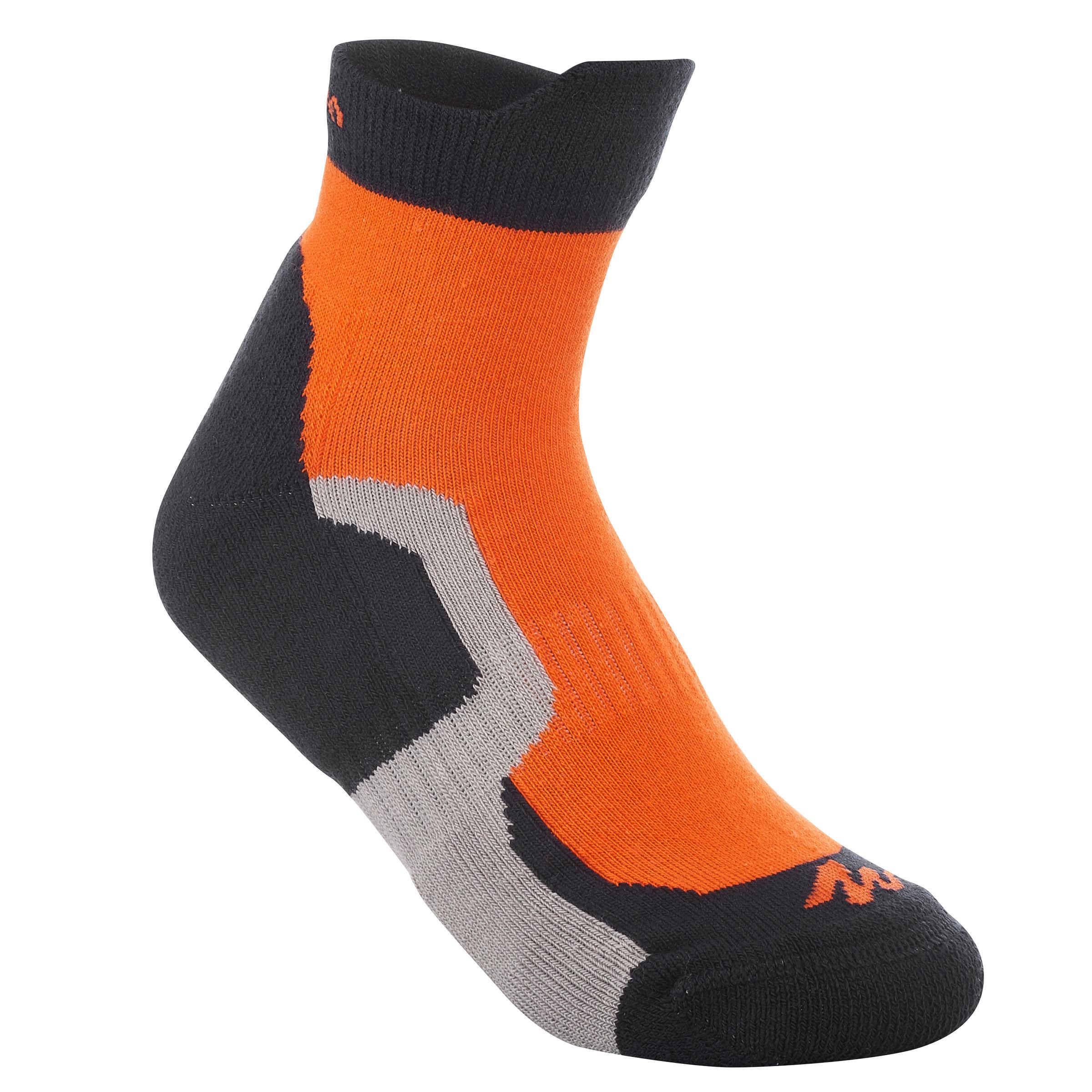 2 paires de chaussettes de randonnée tige moyenne enfant crossocks orange